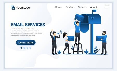 Landing page template of Email marketing, mailing services with characters. Modern flat web page design concept for website and mobile website. Vector illustration