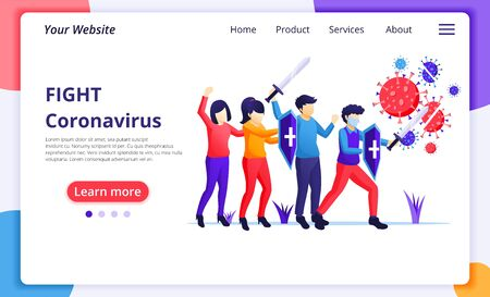 People fight with virus, fight Covid-19, vaccine cure for Corona virus concept. Modern flat web page design for website and mobile website development. Vector illustration