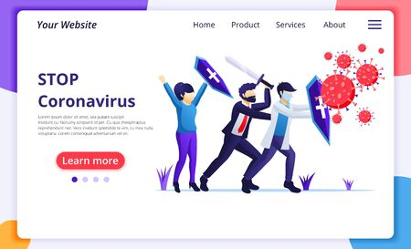 People fight with virus, fight Covid-19, vaccine cure for Corona virus concept. Modern flat web page design for website and mobile website development. Vector illustration Vektorgrafik