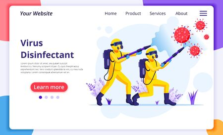 Disinfectant worker team in hazmat suits sprays cleaning and disinfecting covid-19 coronavirus cells. protection from virus concept. Modern flat web landing page design template. Vector illustration Ilustración de vector
