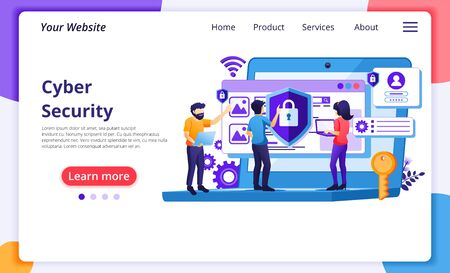 Cyber security concept, people access and protecting data confidentiality. Modern flat web page design for website and mobile website development. Vector illustration Vectores