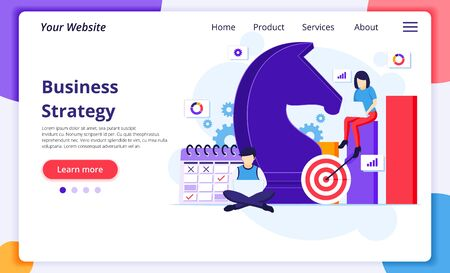 Business strategy concept, People are planning a business strategy concept. team metaphor, Target achievement. Modern flat web page design for website and mobile development. Vector illustration