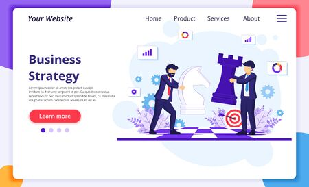 Business strategy concept with businessmen moving chess pieces on chess board. Strategic and tactics in business. Modern flat web page design for website and mobile development. Vector illustration