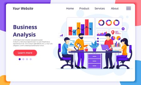Business Analysis concept, People sitting on desk work with charts and graphic data visualization. Modern flat web page design for website and mobile development. Vector illustration Vectores