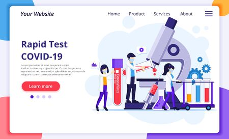 Rapid test concept for COVID-19 Coronavirus disease with scientists working at medicine Laboratorium. Modern flat web page design for website and mobile website development. Vector illustration