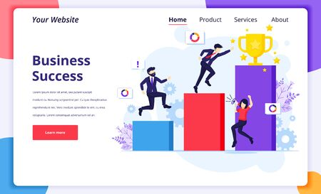 Business Success concept, businessman run through column by column to the golden trophy cup for their success. Modern flat web page design for website and mobile website. Vector illustration