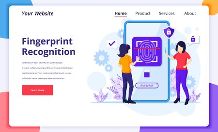 Fingerprint recognition technology concept. Women trying to access her mobile phone with biometric access control. modern flat landing page design for website and mobile website. Vector illustration Illustration