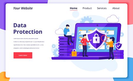Data protection concept, people protecting data and files on a giant laptop. Modern flat landing page design for website and mobile website. Vector illustration