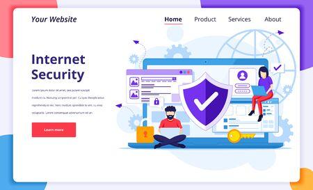 Internet security concept, People work on laptop, secure internet connection. Modern flat landing page design for website and mobile website. Vector illustration Ilustração