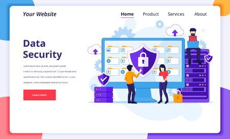 Data Security concept, People work on screen protecting data and files. Modern flat landing page design for website and mobile website. Vector illustration