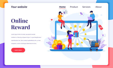 Landing page design concept of Online reward, A woman receive a gift box from Online loyalty program and bonus. Flat vector illustration