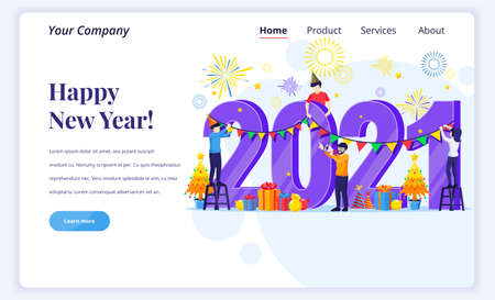 Landing page design concept of Happy new year 2021. People engaged in decorating on giant 2021 number celebrating new year's eve. Flat vector illustration