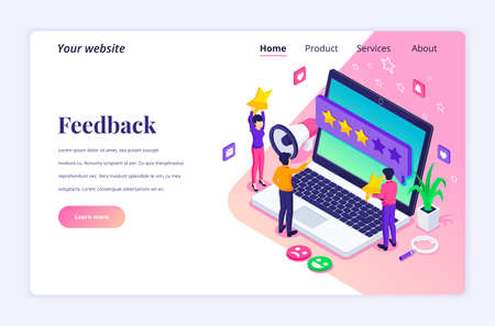 Isometric landing page design concept of Customer reviews concept, People near big laptop giving feedback. Customers evaluating a product or service. vector illustration