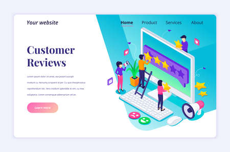 Isometric landing page design concept of Customer reviews concept, People giving five stars rating and review, positive feedback. Customer Service and User Experience. vector illustration Stock Illustratie
