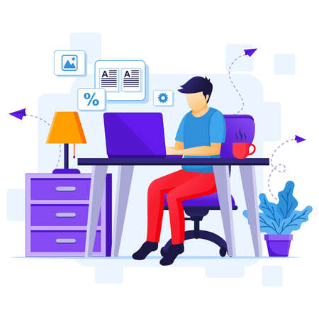Work from home concept, A woman sitting on sofa listening music, stay at home on quarantine during the Coronavirus Epidemic illustration