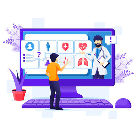 Work from home concept, A man sitting at desk and work on laptop, stay at home, Quarantine during the Coronavirus Epidemic illustration