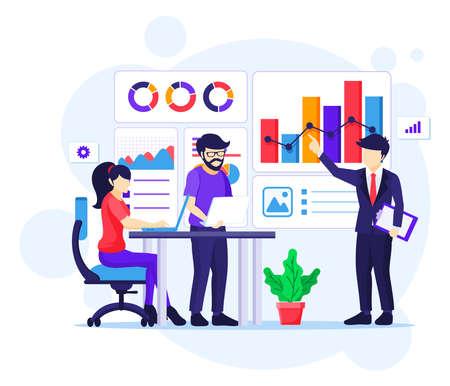 Business Success concept, Successful teamwork near a giant golden trophy. Successful teamwork flat ector illustration
