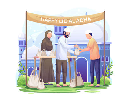 The couple brought a camel and some goats and sheep on the eve of Eid Al Adha Mubarak. Flat vector illustration Vector Illustration