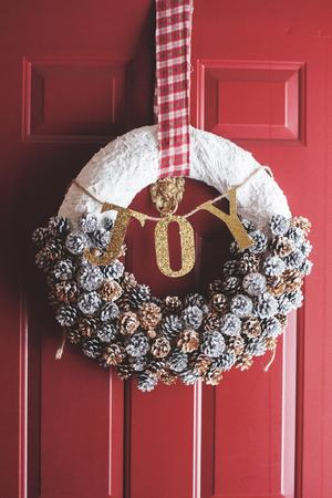Holiday Christmas Wreath on Front Door