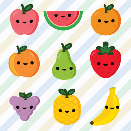 Set of fruits smiley face Vector Illustration
