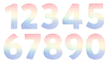 cartoon magic numbers. Set of color numbers. The ten numbers from one to zero Illustration
