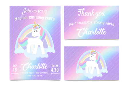 Unicorn Birthday Party Invitation Çizim