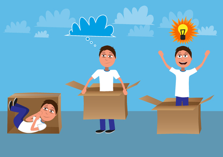 man gets out of the box comic represents think out of the box concept funny vector illustration Stock Photo