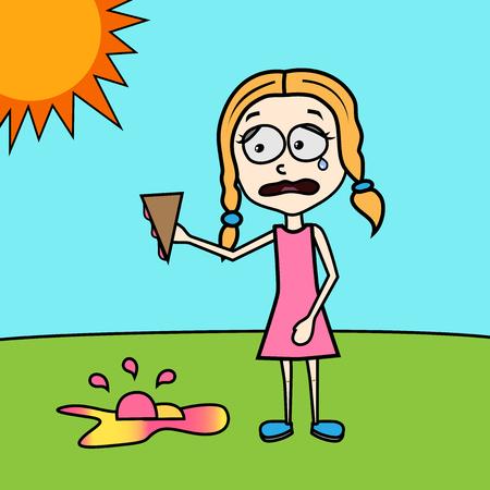 cornet: sad girl with ice cream on the ground summer funny vector illustration