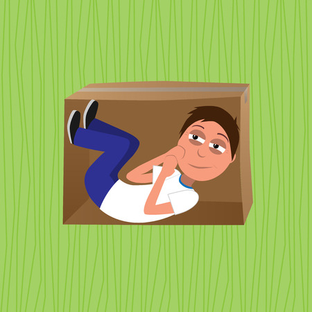 intended man curled in en embryonic position in box represents think inside of the box concept vector illustration Stock Photo