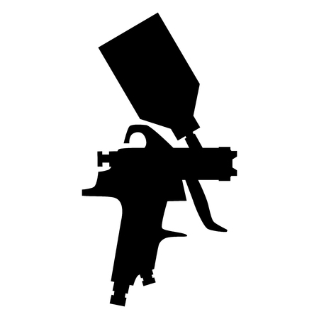 paint spray gun silhouette vector isolated on white background Banco de Imagens