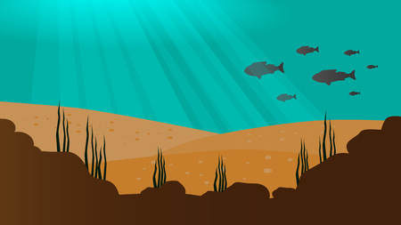 under the sea vector background with sand, fish and rock silhouettes and sun beams Stock Photo