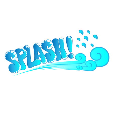 water splash isolated on white background: decorative cartoon splash text with abstract wave vector illustration
