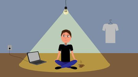 funny cartoon illustration of male sitting on the foor in empty room only with notebook, caffee, t-shirt and lighting bulb vector represents minimalist concept