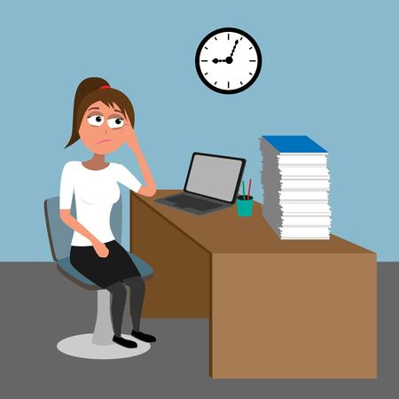too much work in the office - young lady overloaded by papers funny flat vector illustration