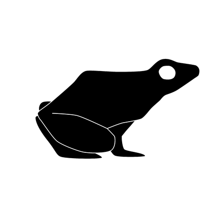 black poison arrow frog silhouette vector isolated on white background