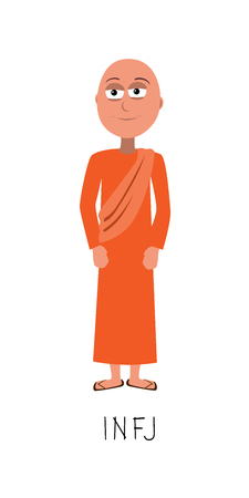 flat cartoon monk vector represents INFJ personality from MBTI typology isolated on white backgorund