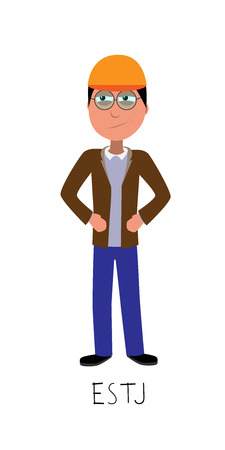 flat cartoon supervisor vector represents ESTJ personality from MBTI typology isolated on white backgorund