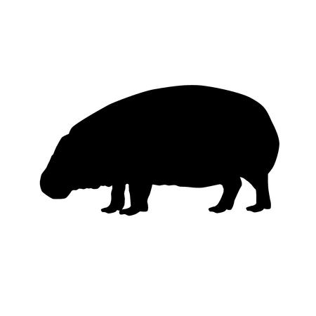 Silhouette noire vecteur hippopotame pygmée isolé sur fond blanc