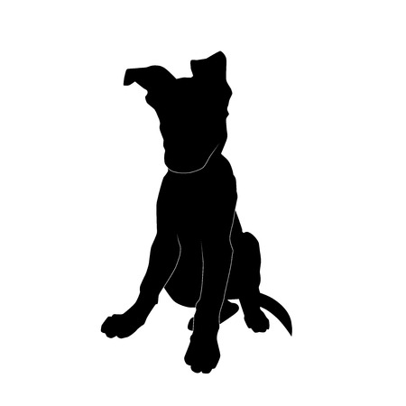 lovely sitting puppy from the front silhouette vector isolated on white background