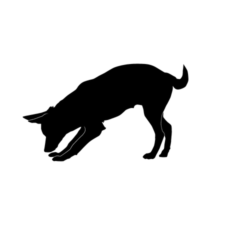 big dog sniffing to the ground and withering tail from the side silhouette vector isolated on white background