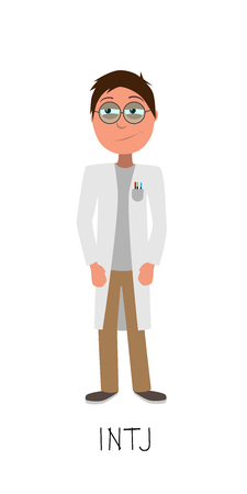 scientist vector represents INTJ personality from MBTI typology isolated on white background