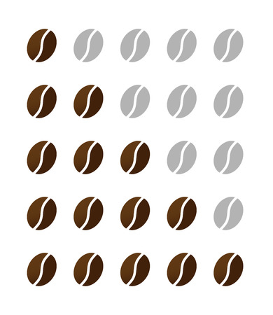 ranking of coffe beans from one to five vector isolated on white background