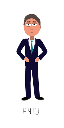 flat cartoon business man vector represents ENTJ personality from MBTI typology isolated on white backgorund