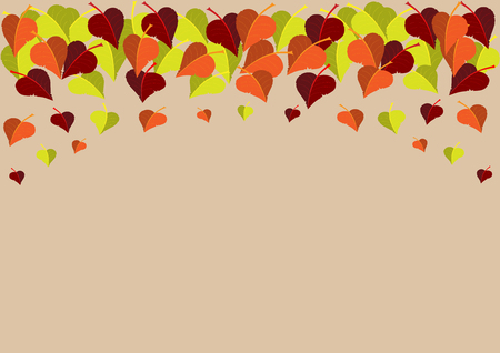 colorful leaves decorating top edge of light brown list autumn vector background with copy space for your text