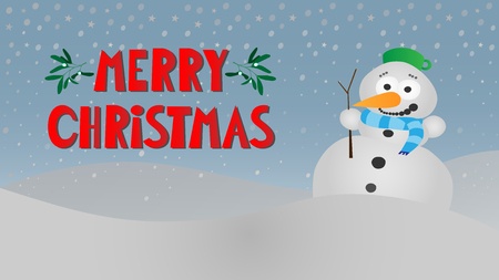 snowy winter landscape with cute smiling snowman with scarf, stick and pot, vintage blue sky and red text merry christmas vector background
