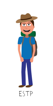 flat cartoon adventurer vector represents ESTP personality from MBTI typology isolated on white backgorund Ilustrace