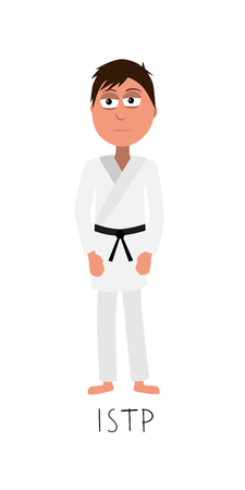 flat cartoon fighter vector represents ISTP personality from MBTI typology isolated on white backgorund Ilustrace