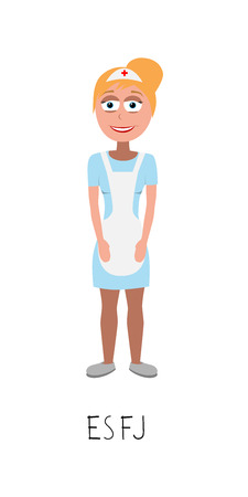 flat cartoon nurse vector represents ESFJ personality from MBTI typology isolated on white backgorund