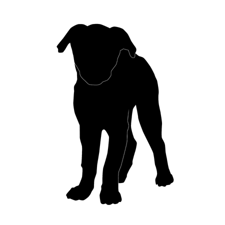 cute puppy standing vector black silhouette isolated on white background