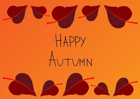 orange autumn background with red linden leaves decorating top and bottom edge of list vector